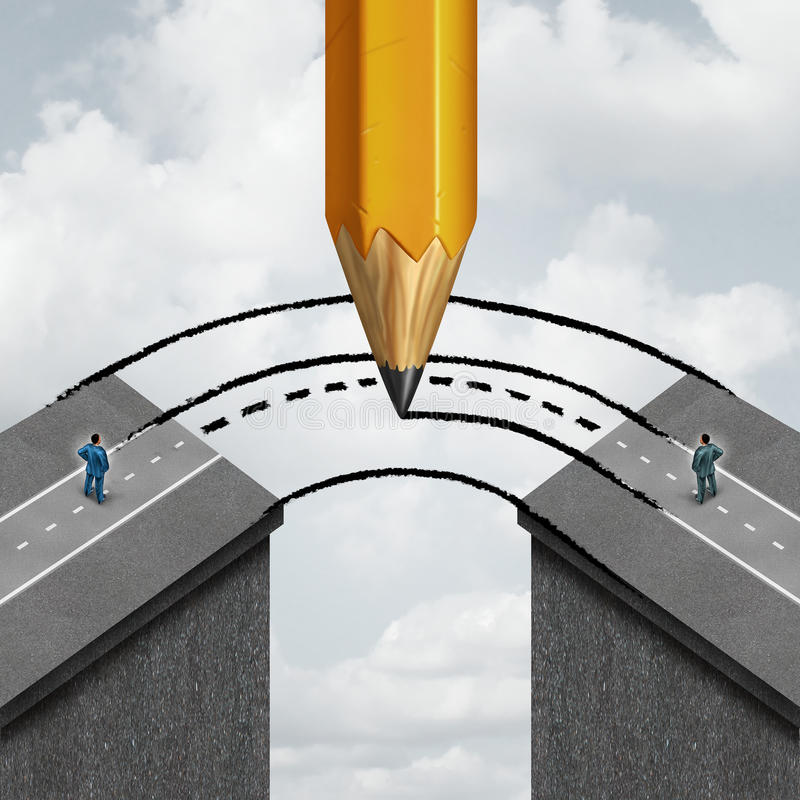 Bridging The Gap. Business partnership concept as a giant pencil drawing a joining road to connect divided businessmen as a cooperation symbol of support and vector illustration