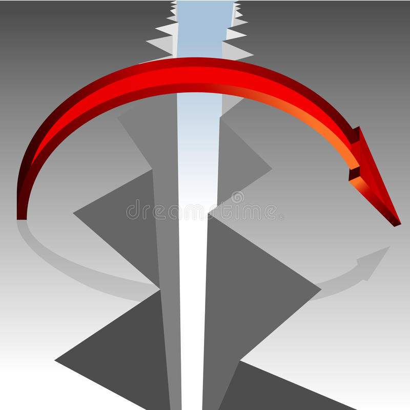 Bridging The Gap. An image of a 3d arrow bridging a gap in the ground royalty free illustration