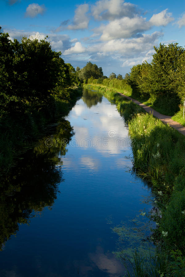 Bridgwater and Taunton Canal. The Bridgwater and Taunton Canal near the village of Creech St Michael, Taunton England stock photo