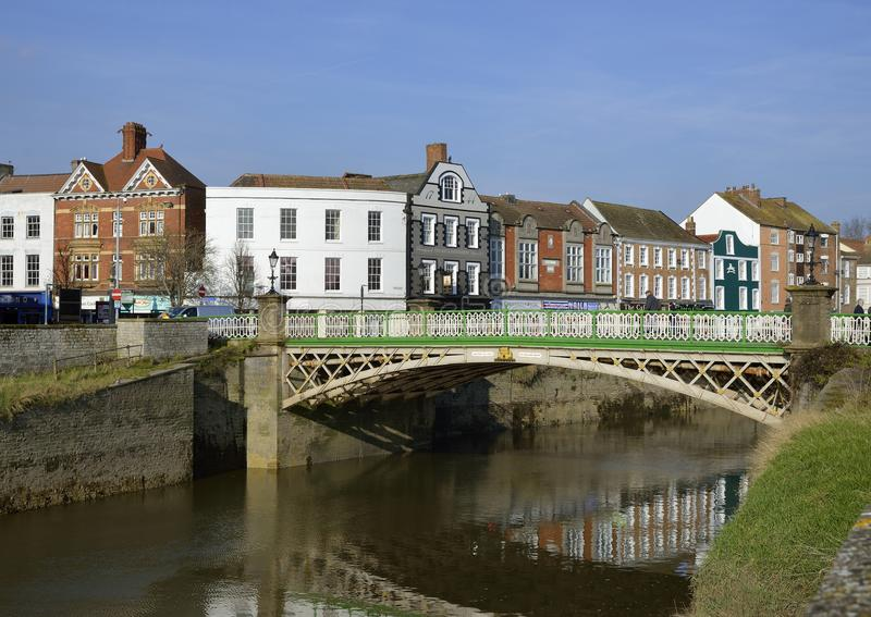 Bridgwater Town Bridge. Town Bridge over the River Parrett, with West Quay behind Bridgwater, Somerset Bridge opened 1883 royalty free stock photography