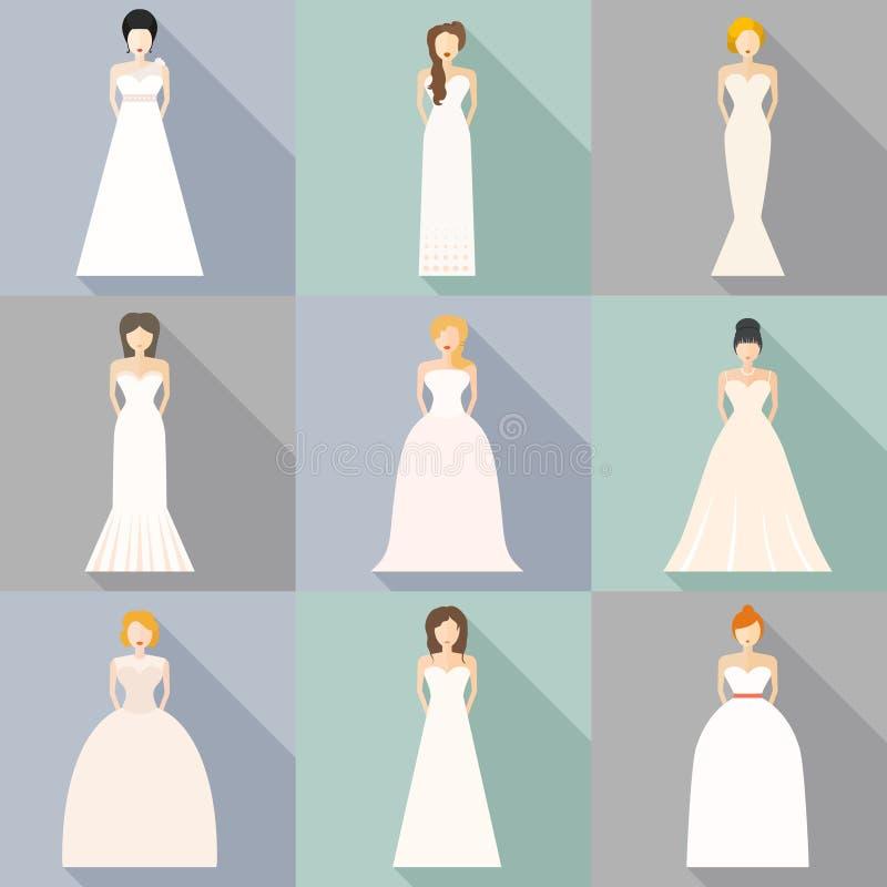 Brids στα γαμήλια φορέματα διανυσματική απεικόνιση