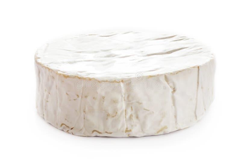 Brie Cheese Camembert på vit bakgrund, bästa sikt arkivbilder