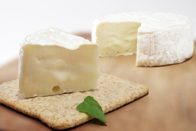 Brie cheese and cracker royalty free stock photos