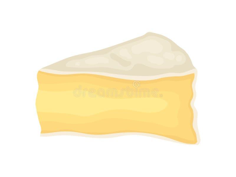Brie Cheese op Witte Achtergrond Vector illustratie stock illustratie