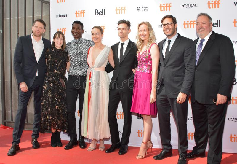 Brie Larson e o grupo no ` de Unicorn Store do ` premiere no festival de cinema 2017 do International de Toronto imagem de stock