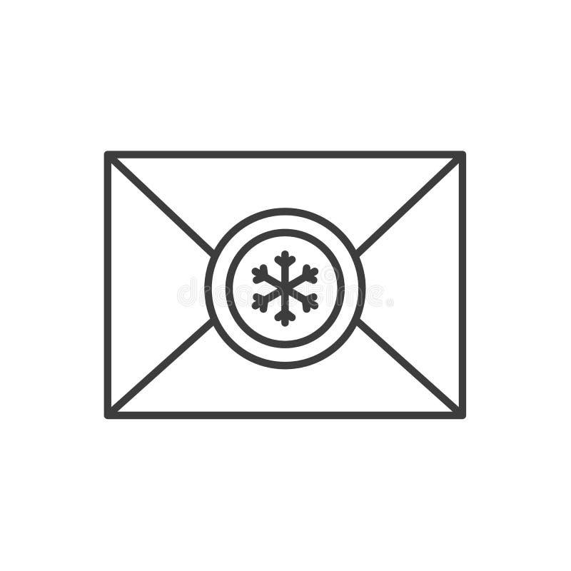 Brief aan het lineaire pictogram van Santa Claus royalty-vrije illustratie