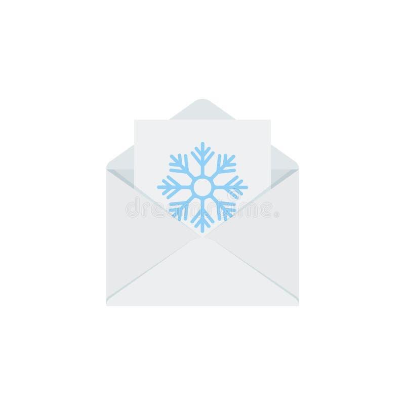 Brief aan Kerstman in envelop Het pictogram van Kerstmis Vectorillustratie in vlak ontwerp royalty-vrije illustratie