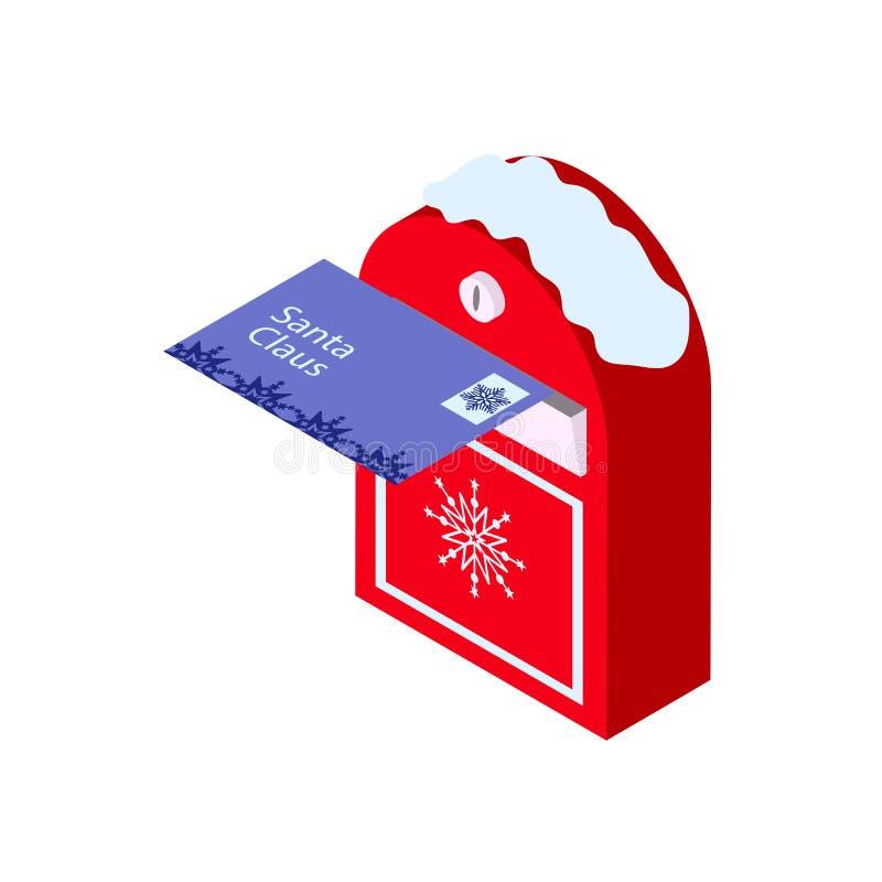 Brief aan Kerstman Nieuwjaarbrievenbus in isometry Vector illustratie royalty-vrije illustratie