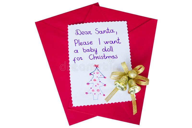 Brief aan santa op wit wordt geïsoleerd dat royalty-vrije stock fotografie