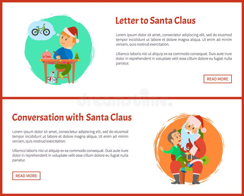 Brief aan Sinterklaas, Gesprek met Kerstman stock illustratie