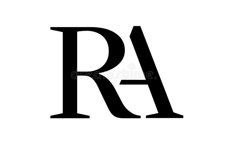 Brief A achter r-overlappingsembleem, eenvoudige stijl stock illustratie