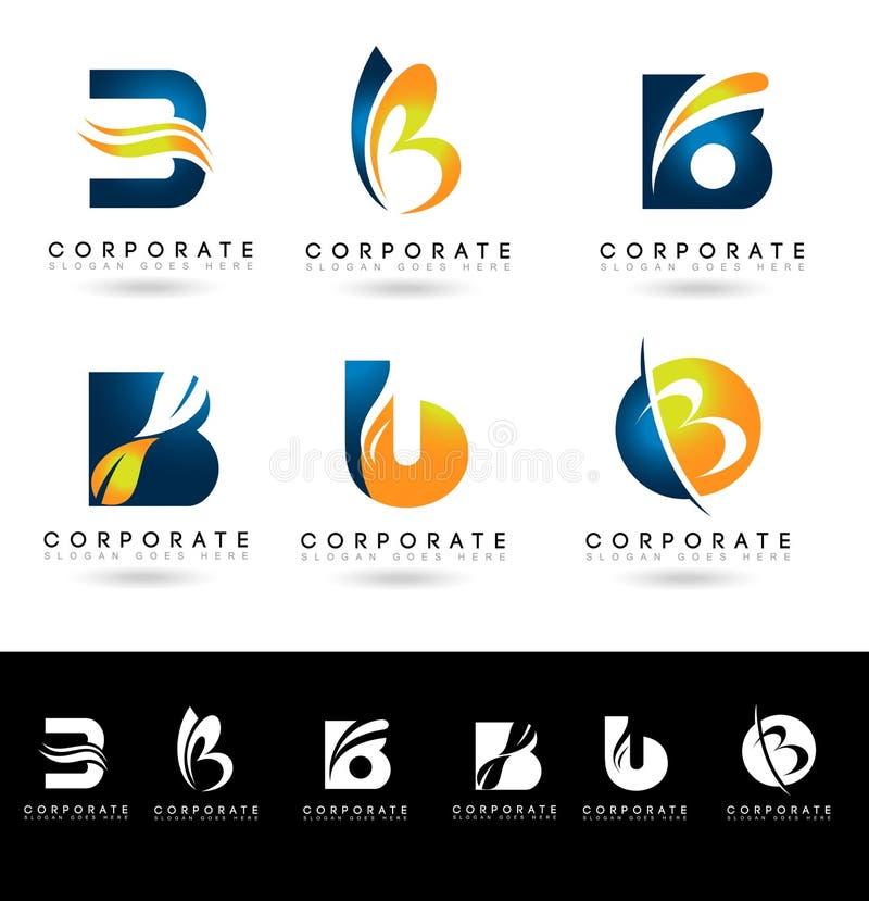 Brief B Logo Designs stock illustratie