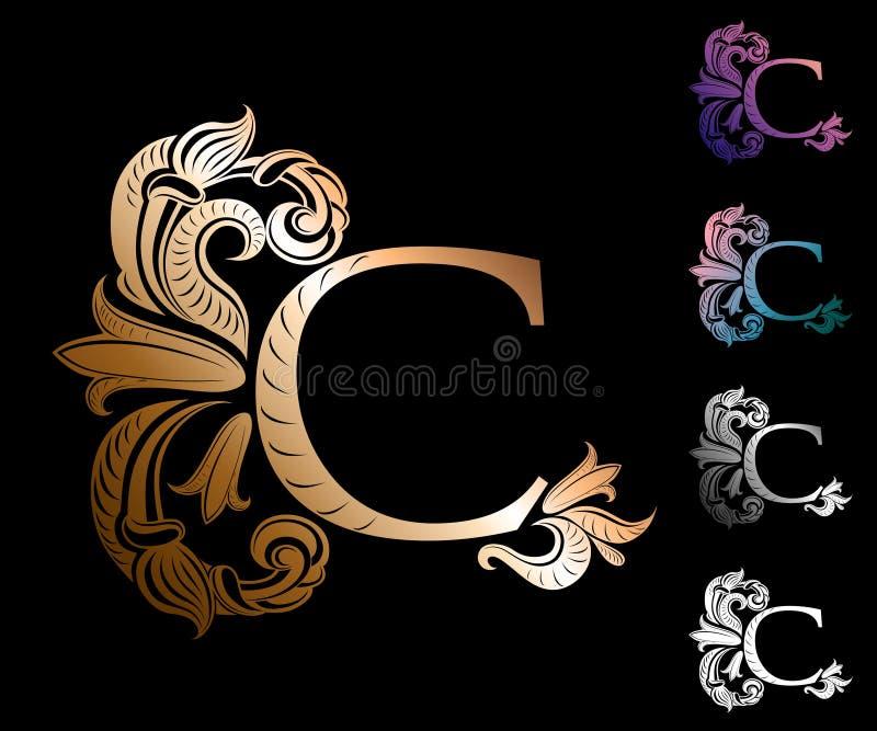 Brief C, met uitstekende, elegante bloemen wordt verfraaid die vector illustratie