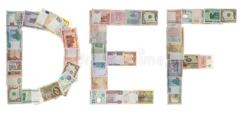 Brief D, E, F van geld stock fotografie
