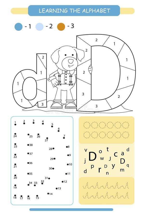 Brief D en grappige beeldverhaalhond Dierenalfabet a-z Kleurende pagina Voor het drukken geschikt aantekenvel De praktijk van het stock illustratie