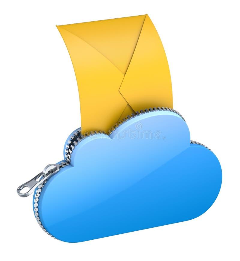 Brief in de wolk vector illustratie