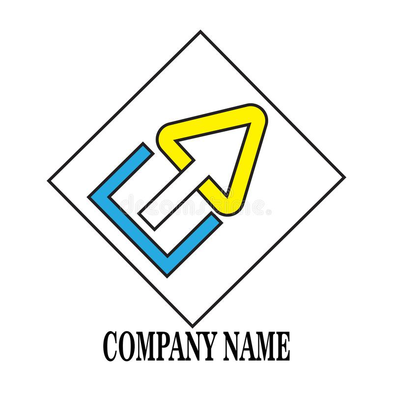 Brief E en Pijlpictogram stock illustratie