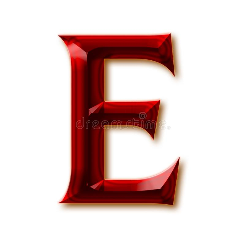 Brief E van modieus gefacetteerd robijnrood alfabet vector illustratie