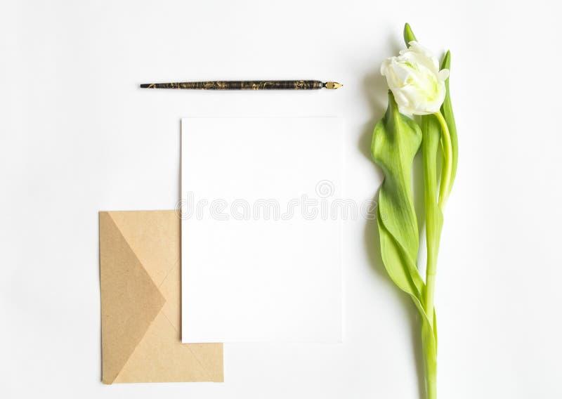 Brief, envelop en tulp op witte achtergrond Uitnodigingskaart, of liefdebrief De hoogste vlakke mening, legt stock foto