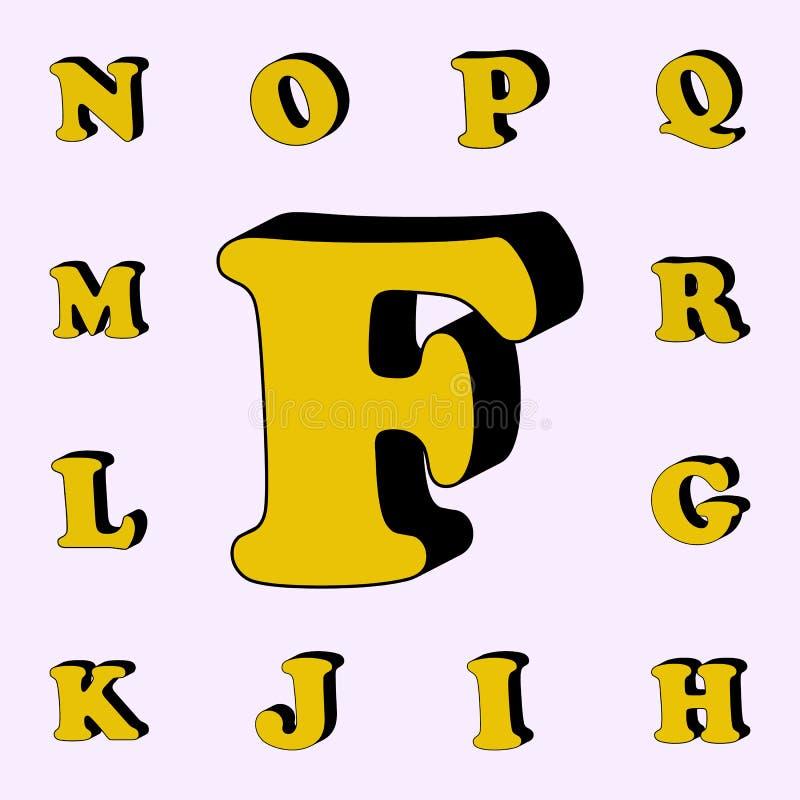 brief F, alfabet, 3D pictogram 3D dat voor Web wordt geplaatst en mobiele algemene begrip van woordenpictogrammen stock illustratie