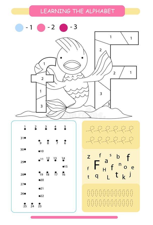 Brief F en grappige beeldverhaalvissen Dierenalfabet a-z Kleurende pagina Voor het drukken geschikt aantekenvel De praktijk van h stock illustratie