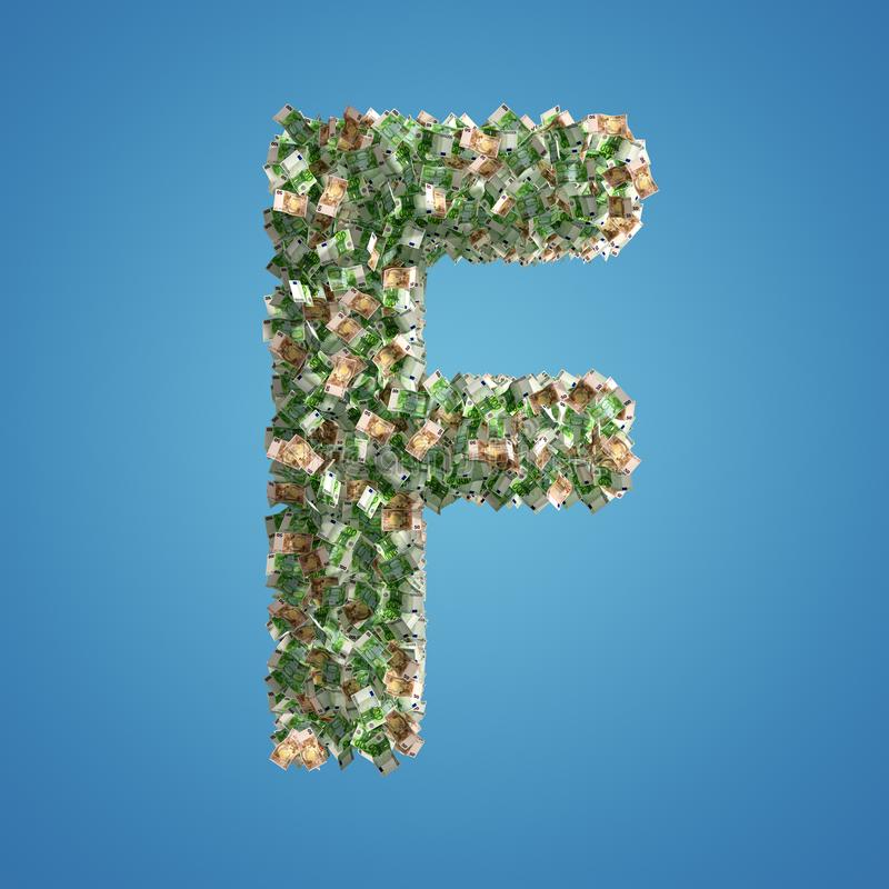 Brief F van Euro bankbiljetten wordt gemaakt dat royalty-vrije illustratie