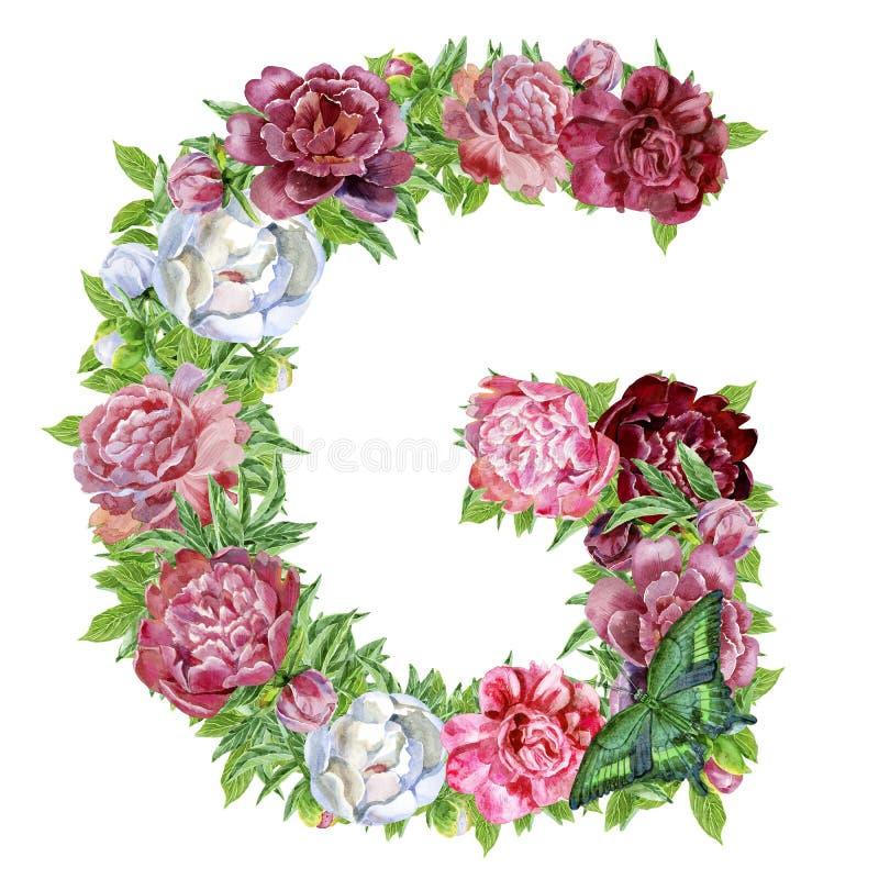 Brief G van waterverfbloemen stock illustratie