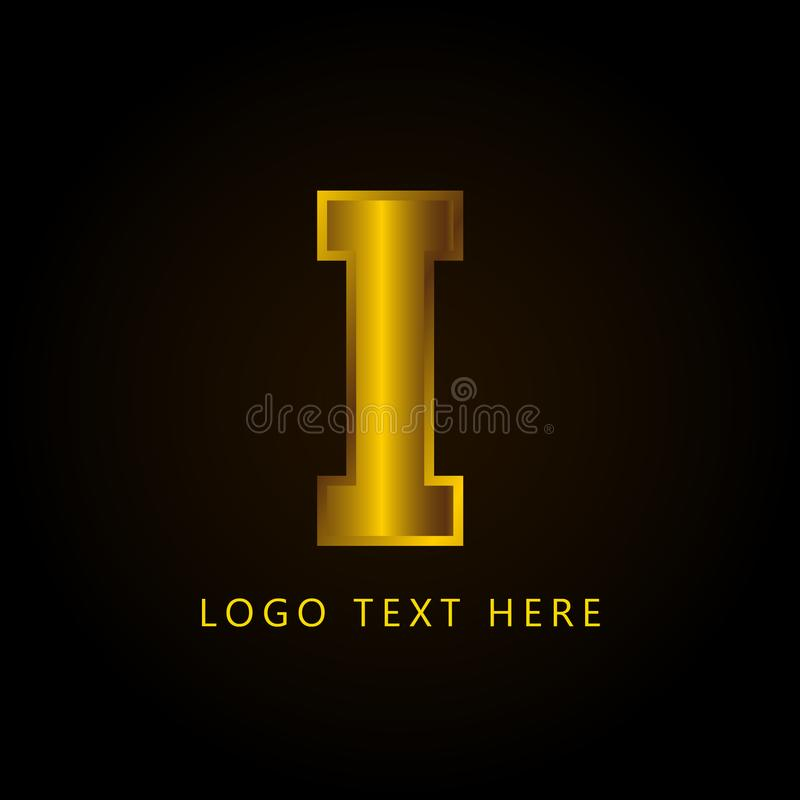 Brief I bedrijfembleem met gouden stijl en luxe stock foto's