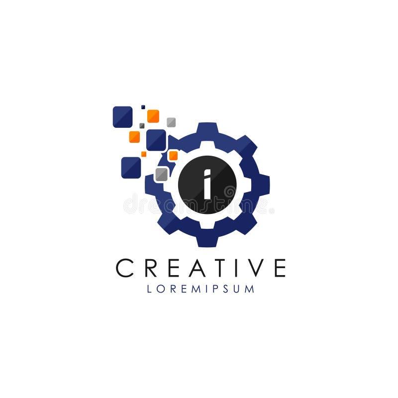 Brief I Gegevens Digitaal Toestel Logo Vector stock illustratie