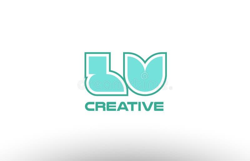 brief lv l v van het pastelkleur de groene alfabet coman combinatie gezamenlijk embleem royalty-vrije illustratie