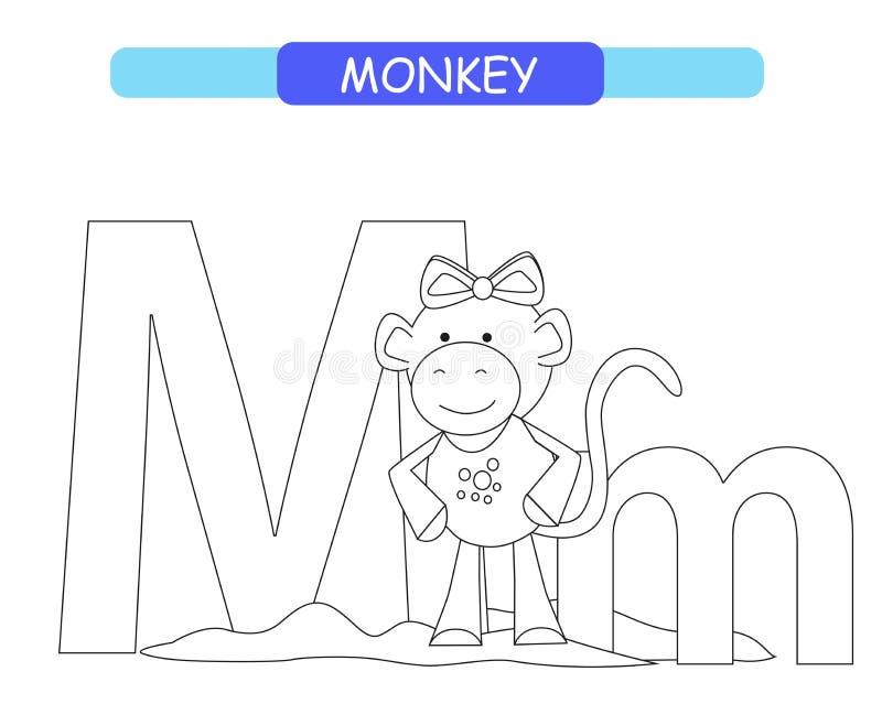 Brief M en grappige beeldverhaalaap Kleurende pagina Dierenalfabet a-z Leuk dierentuinalfabet in vector voor jonge geitjes die En royalty-vrije illustratie