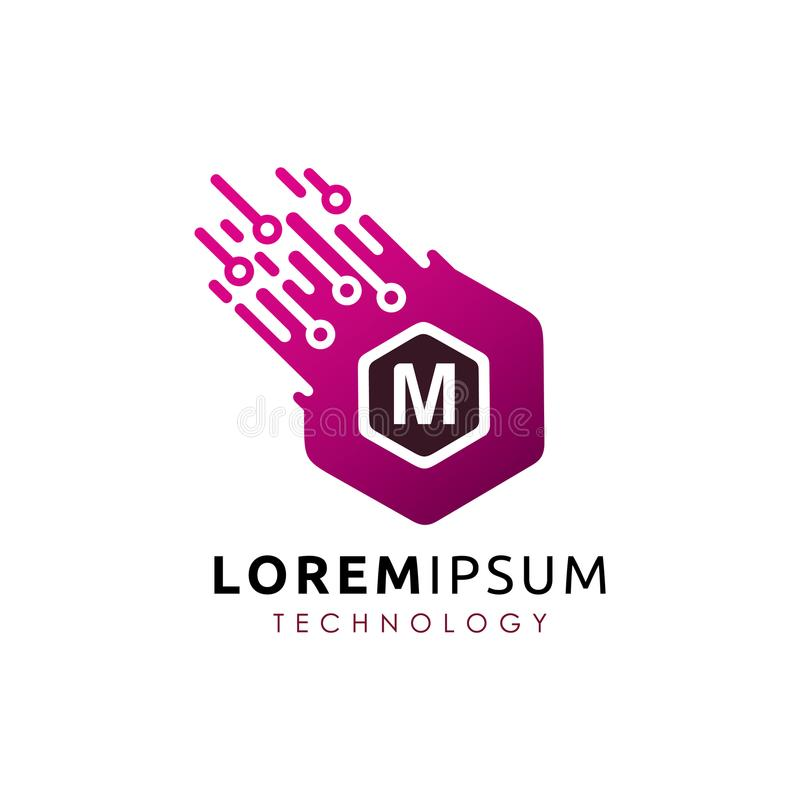 Brief M Hexa Tech Logo Vector