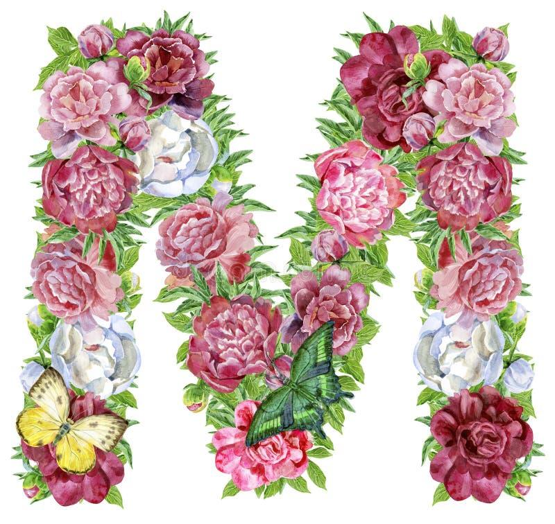 Brief M van waterverfbloemen stock illustratie