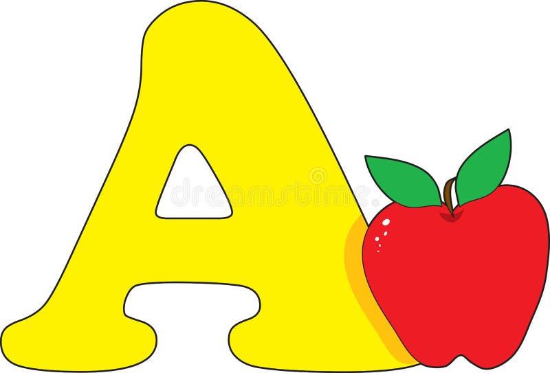 Brief A met een Appel vector illustratie