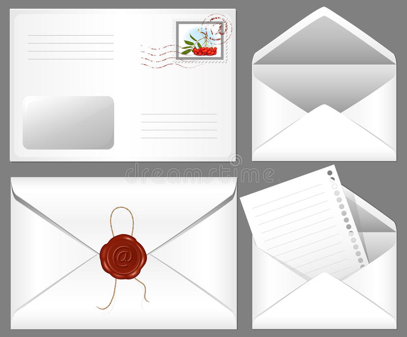 Brief met wasverbinding en postzegel. stock illustratie