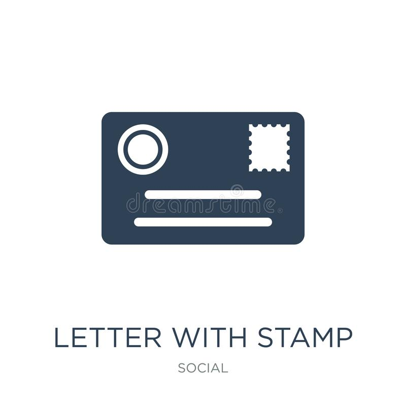 brief met zegelpictogram in in ontwerpstijl brief met zegelpictogram op witte achtergrond wordt geïsoleerd die brief met zegel ve stock illustratie