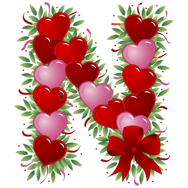 Brief N - de brief van de Valentijnskaart stock illustratie