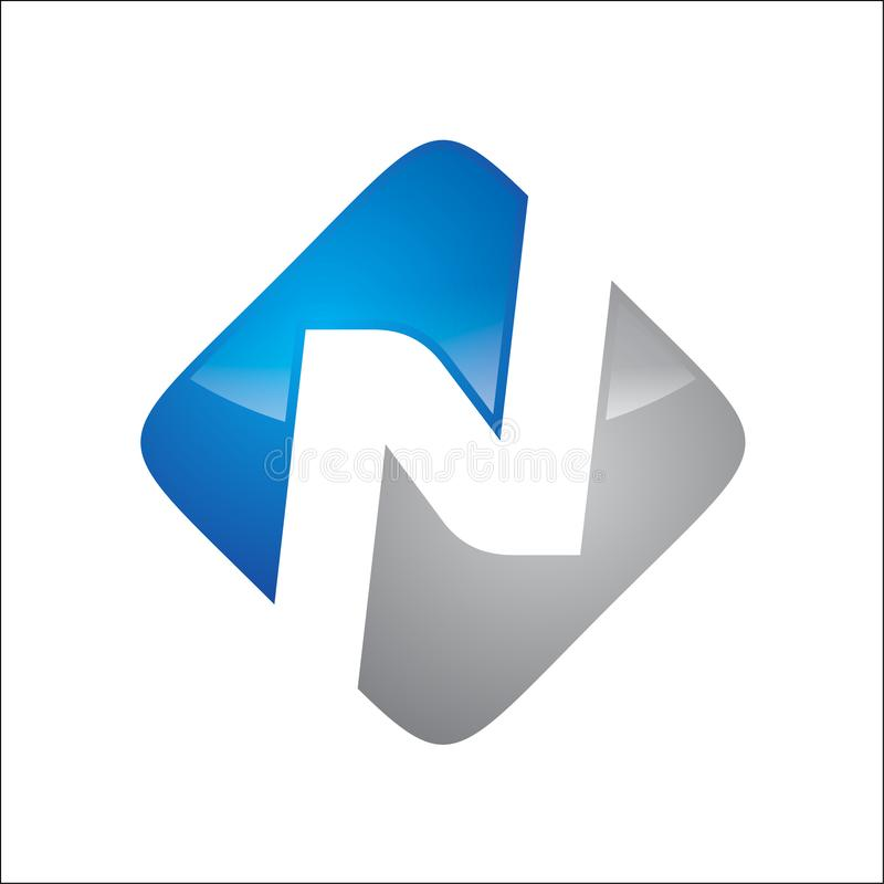 Brief N op de blauwe n grijze kleur van het blokembleem stock illustratie