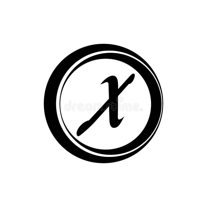 Brief X ontwerpsjabloon van het Bedrijfs de collectieve abstracte eenheids vectorembleem stock illustratie