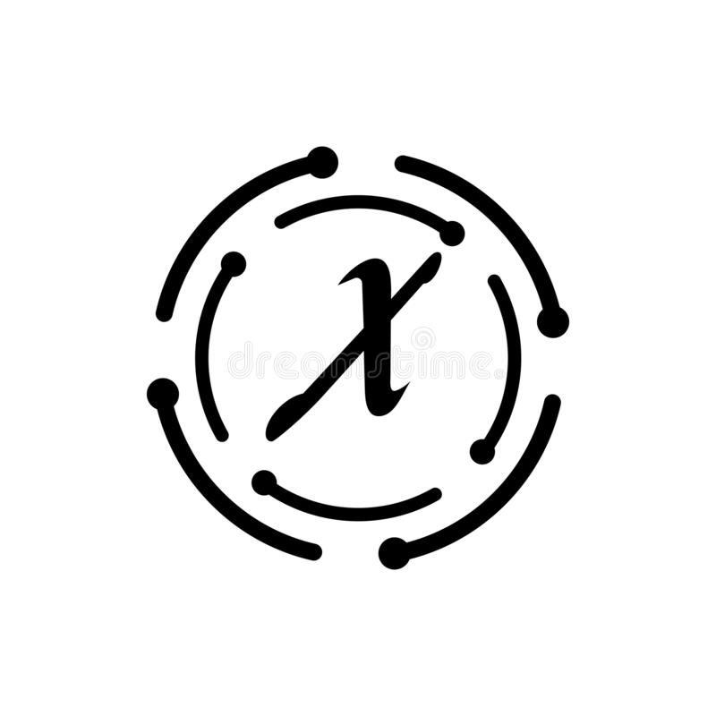 Brief X ontwerpsjabloon van het Bedrijfs de collectieve abstracte eenheids vectorembleem royalty-vrije illustratie