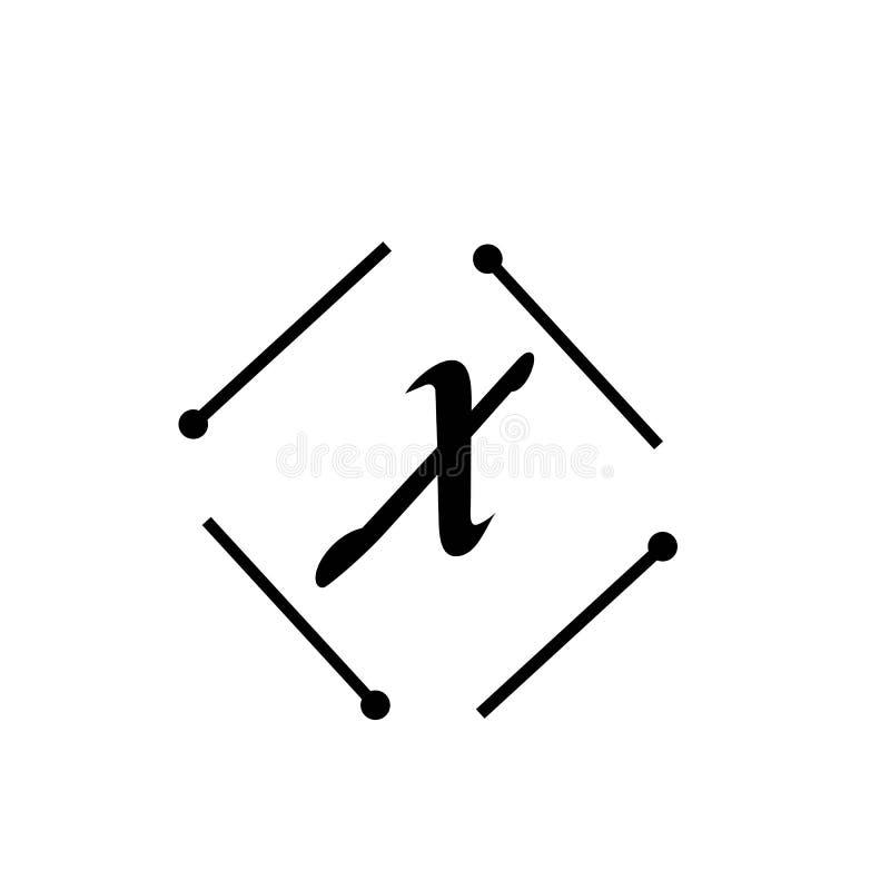 Brief X ontwerpsjabloon van het Bedrijfs de collectieve abstracte eenheids vectorembleem vector illustratie