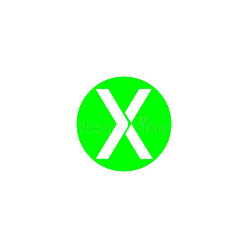 Brief X op een van het het ontwerpembleem van de cirkel groen kleur brandmerkend de brievenelement vector illustratie