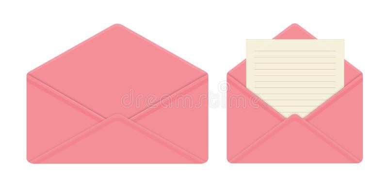 Brief in open roze envelop, lege bladen van document, lege envelop stock illustratie