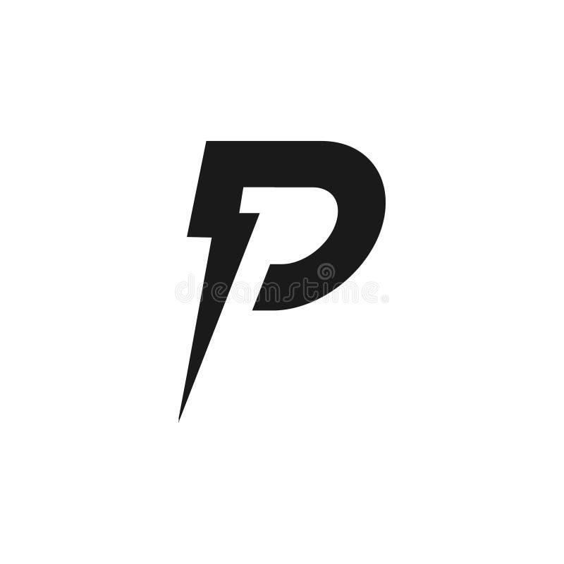 Brief P en het embleemontwerp van de bliksembout stock illustratie