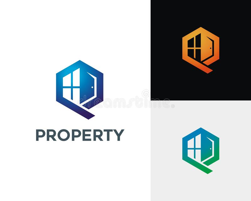 Brief P Real Estate Logo Concept royalty-vrije illustratie