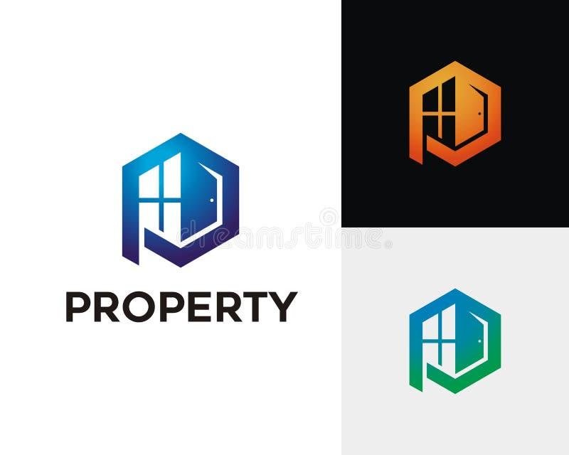 Brief P Real Estate Logo Concept stock illustratie
