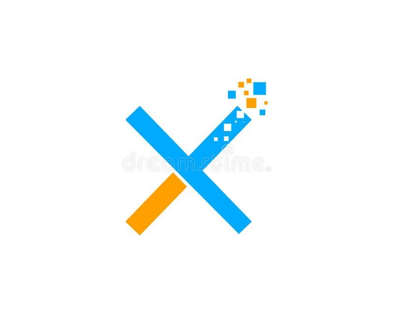 Brief X Pixel Logo Design Element stock illustratie