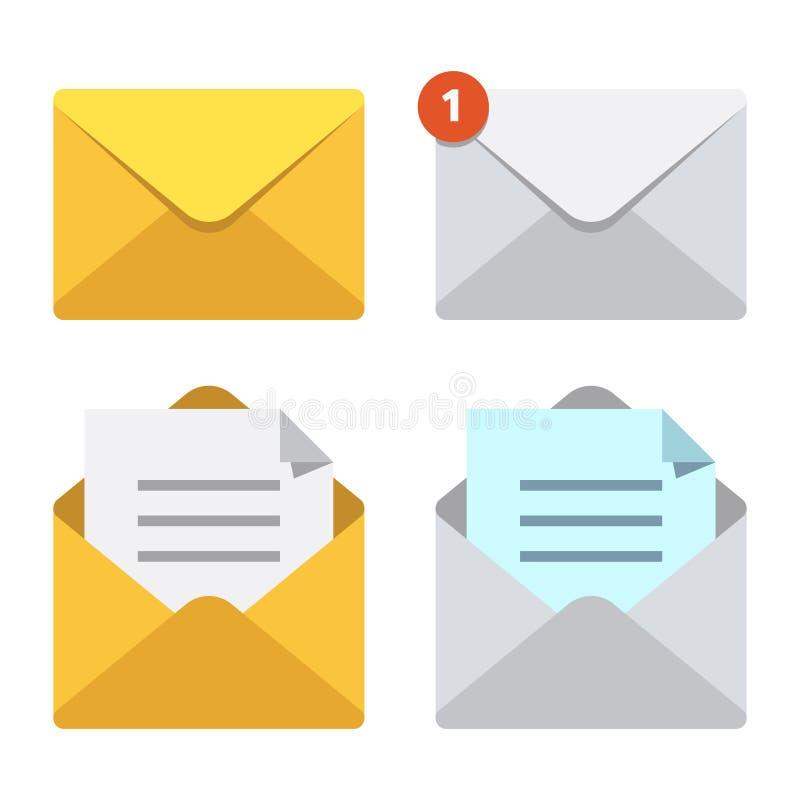 Brief in postenvelop E-mail het berichtpictogrammen van het brievenbusbericht of De open of gesloten vectorreeks van brieven post vector illustratie