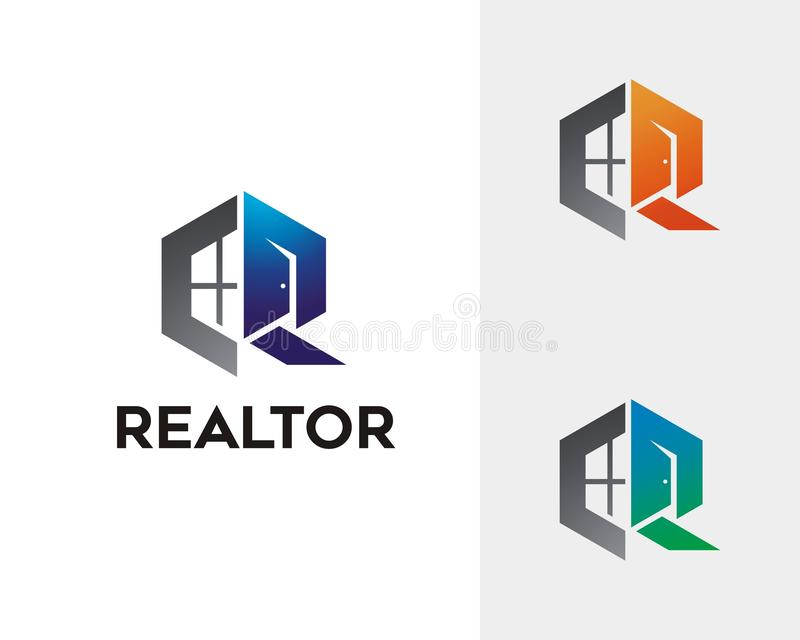 Brief R Real Estate Logo Concept stock illustratie