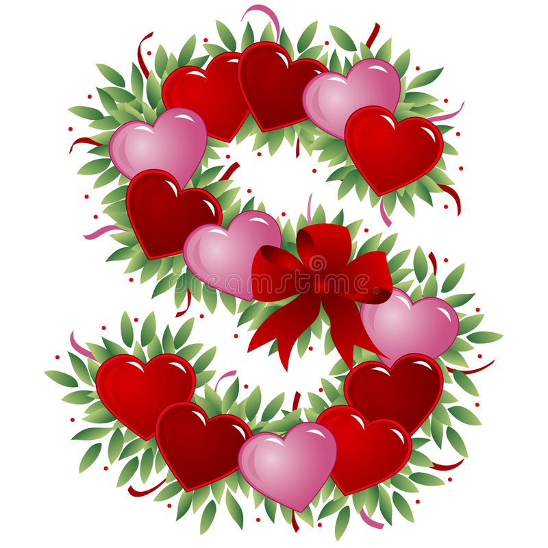 Brief S - de brief van de Valentijnskaart vector illustratie